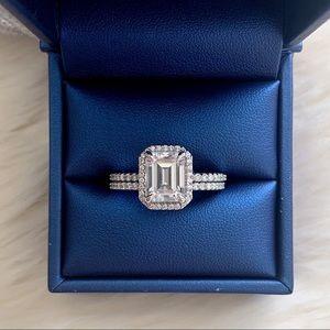 Jewelry - Emerald moissanite and diamond wedding ring set